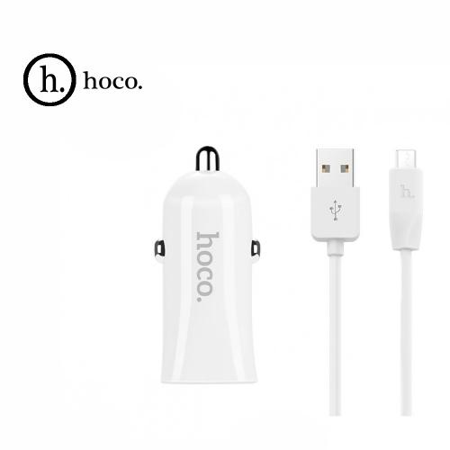 Автомобильное зарядное устройство + кабель micro USB HOCO Z12. 2 xUSB 2.4A. Цвет: Белый