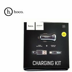 Автомобильное зарядное устройство + кабель для Apple. HOCO Z1. 2xUSB 2.1A. Цвет: Чёрный