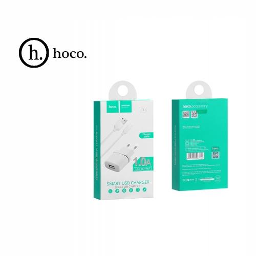 Зарядное устройство + кабель micro USB. HOCO C11. 1xUSB 1.0A. Цвет: Белый