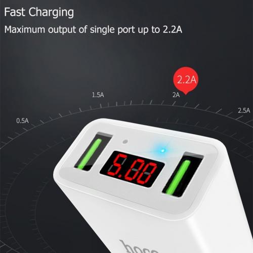 Сетевое зарядное устройство Hoco C25A LED 2USB LED индикатор