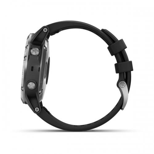 Garmin Fenix 5 Plus серебристый с черным ремешком