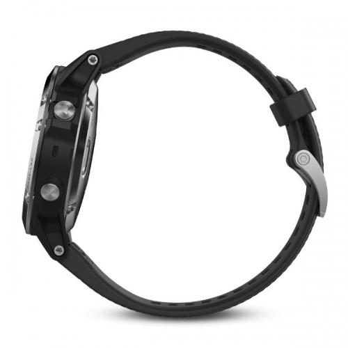 Garmin Fenix 5 серебристые с черным ремешком