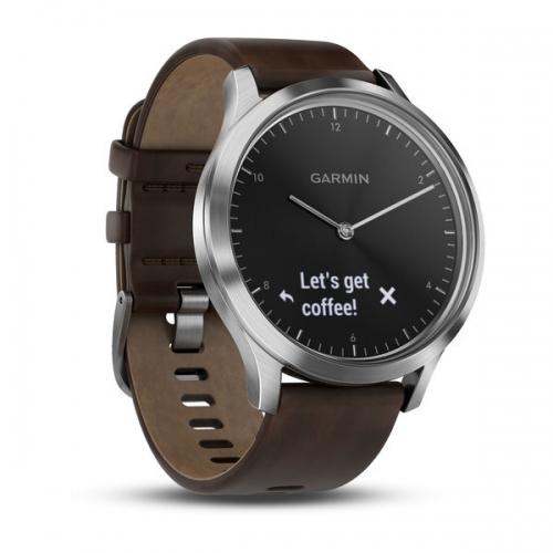Garmin vivomove HR серебряные с темно-коричневым кожаным ремешком