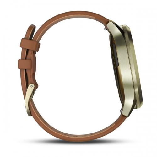 Garmin vivomove HR золотые со светло-коричневым кожаным ремешком