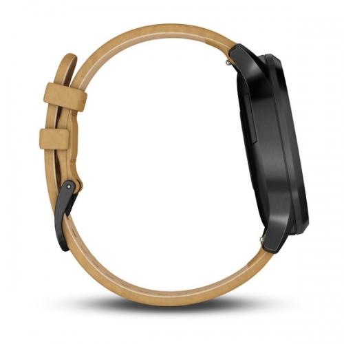 Garmin vivomove HR черный оникс с светло-коричневым кожаным ремешком